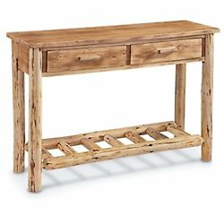 Log Sofa Table Pine Wood Weathered Cabin Lodge Decor Console Entryway Accent New