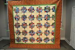 NEW! AUTHENTIC! Hand-Made Lancaster Amish Quilt Amish Log Cabin Home 100 X 107
