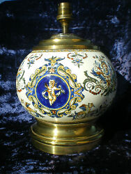 Antique Base Lamp Earthenware of Gien Shape Ball Decorated Putti $338.98