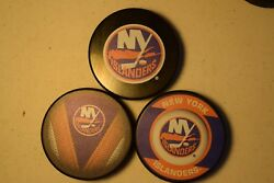 New York Islanders Hat Trick 3 Official NHL Licensed Pucks Basic-Stitch-Retro