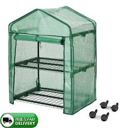 2 Tier Green House Clear Cover & Casters Portable Garden House Indoor Outdoor