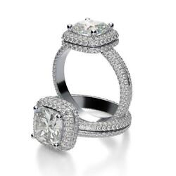 Opulent Natural Cushion Halo Micro Pave Eternity Diamond Engagement Ring - GIA