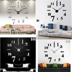 Modern DIY Large Wall Clock 3D Mirror Surface Sticker Home Decor Art Design New $12.98