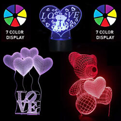 Birthday  Valentine's Day 3D LED Heart 7 Color Night lights Lamp Gift For Her
