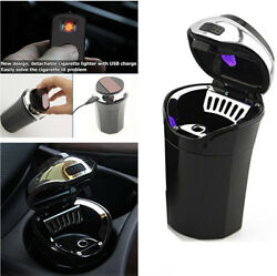 1X Detachable Clamshell Ashtray with Blue LED Indicator Light for Car Cup Holder
