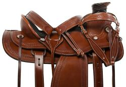 TOOLED WALNUT OIL LEATHER WESTERN RANCH ROPING HORSE SADDLE TACK SET NEW 15
