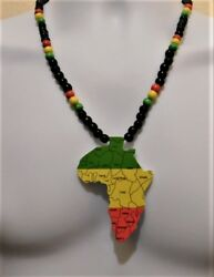 Mens Or Womens Black Wooden African Necklace With African Map Medallion Pendant