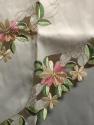 Embroidery Daisy Flowers Kitchen Curtain 3pc set 60x38 30x36 $16.99