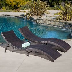 Set of 2 Outdoor Wicker Folding Chaise Lounge Brown Patio Beach Chair Furniture