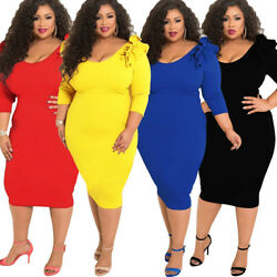 Womens Plus Size Clothing Dress Evening Cocktail Skirt 3 4 Sleeve Bodycon Large $23.58