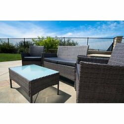 Outdoor Patio Furniture Cushioned 4 Piece Wicker Sofa Cover with table