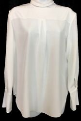 Chloe Top Milk White Silk Tie Neck Long Sleeve  Pleat Front Size  38 (6)