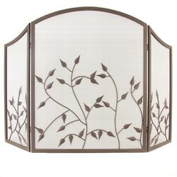 Pleasant Hearth Fireplace 3-Panel Screen In Colonial Brown Branch Leaf Design