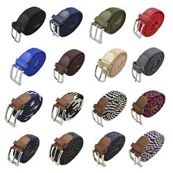 Canvas Elastic Fabric Woven Stretch Multicolored Braided Belts $9.99