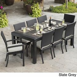 9 Piece Patio Dining Set Grey Gray Contemporary Removable Chair Cushions New