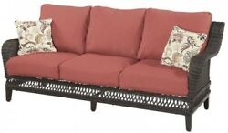 Outdoor Patio Furniture Sofa with Chili Cushion Wicker 2 Toss Pillow Dark Brown