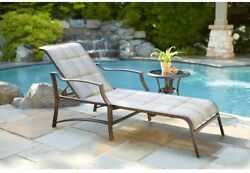 Outdoor Patio Furniture Chaise Lounge Chair Padded Pewter Adjustable Backrest