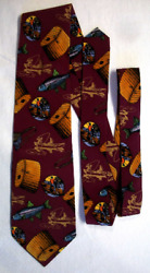 Lillian Vernon men's novelty vintage silk Trout Stream Colorful Fishing neck tie