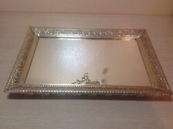 METAL MIRRORED DRESSER TRAY HANG LAY FLAT OR STAND UP