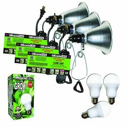 MiracleLED 604972 Commercial Hydroponic Green House LED Bulbs with Clamp Light 3