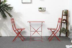 Vintage Red Garden Furniture Set Table 2 Folding Chairs Metal Patio Backyard New