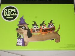 Gemmy 6 1 2#x27; Long Hallowiener Dog Lighted Halloween Airblown Inflatable NEW $118.88