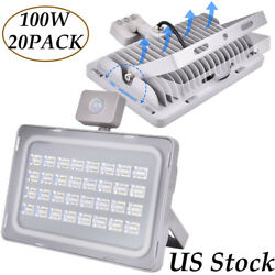 20X 100Watt LED Flood Lights Motion Sensor Cool White Outdoor Path Lamp Fixtures