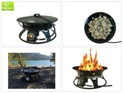 Steel Portable Propane Fire Pit Cover Carry Kit Burning Fireplace Patio Backyard