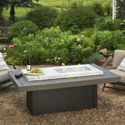 OUTDOOR GREATROOM BOARDWALK Crystal Fire Coffee Table White Onyx Top