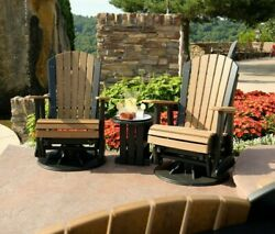 Outdoor Antique Mahogany Poly Lumber 2 Foot Adirondack Swivel Glider Chair