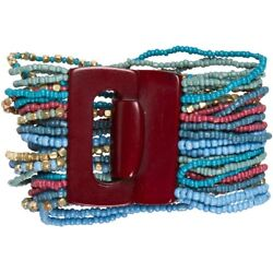 NEW Warm Tones Multi Strand Seed Bead Cuff Bracelet with Brown Toggle Closure