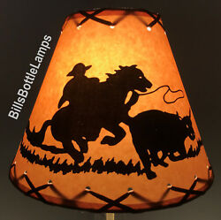Cowboy amp; Horse Table Light Cabin Cottage LAMP SHADE Clip On Bulb 9quot; X Laced Cone $25.99