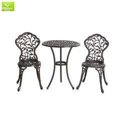 Classical Style 3 Piece Vinely Outdoor Patio Furniture Cast Iron Aluminum Bistro