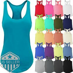 Womens Tank Top Cotton Sleeveless Tee Casual Basic Workout RACER BACK Yoga Gym $5.49