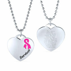 Heart Pink Breast Cancer Survivor Pendant Stainless Steel Necklace