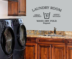 LAUNDRY ROOM HELP NEEDED STICKER WALL DECAL WORDS LETTERING QUOTE LAUNDRY DECOR $10.40