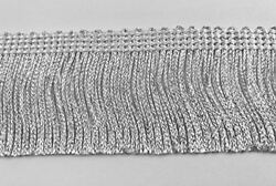 TRIMPLACE 2 inch White Silver Metallic Chainette Fringe 9 Yards $14.97