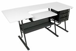 Sewing Hobby Craft Table Storage Drawers Sewing Center Adjustable Steel Desk