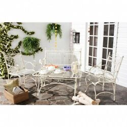 Farmhouse Patio Furniture Set Table And Chairs Outdoor Porch White Iron Rustic