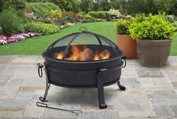 Outdoor Wood Burning Fireplace Steel Fire Pit Patio Deck Bronze Pick Wood Grate