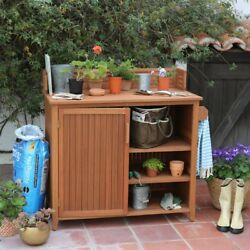 Garden Potting Bench Storage Cabinet Outdoor Patio Wood Work Station Planting