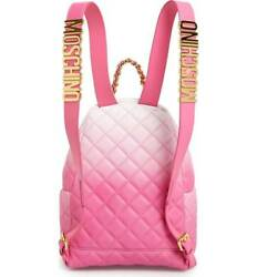 Moschino Couture Pink Logo Leather Backpack Bag New Authentic