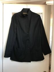 Loro Piana Womens Size 48  14 Black 100% Cashmere Light Jacket Coat Blazer