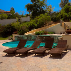 Toscana Set of 4 Multi-brown Stackable Folding Patio Chaise Lounge Chairs Sleek