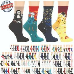 MIRMARU Women's 4 Pairs Animal Cute Funny Novelty Casual Cotton Crew Socks. $11.99