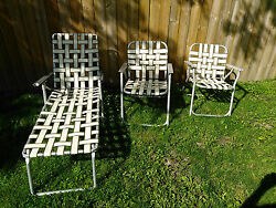 3 Vintage Mid Century Aluminum Webbed Folding Lawn Deck Yard Chairs New Webbing