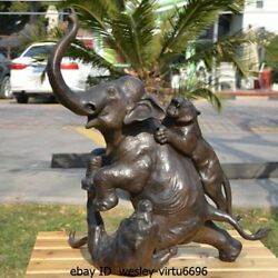 Western Pure Bronze Copper Two Tigers Elephants fight Statue Art Deco Sculpture