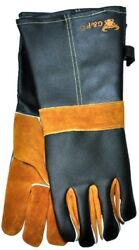 Cowhide Grain Leather BBQ and amp; Fireplace Gloves w Extra Long CuffFireplace