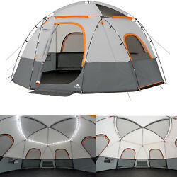 Ozark Trail 9-Person Family Camping Tent Integrated String Lights Outdoor Hiking