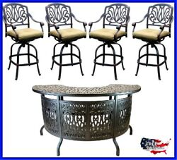 Antique Patio Bar Set Swivel Stools Outdoor Table Metal Industrial Furniture 5pc